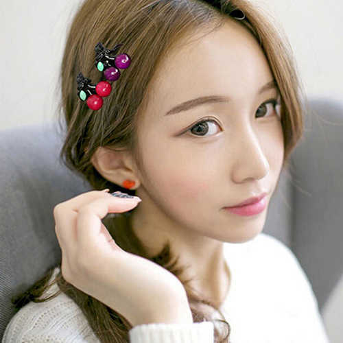 1 Pair  Women Girls Fashion Hair Accessories Korean Princess Headdress Mini Cherry Hair Claws Headwear Cute Hairclip