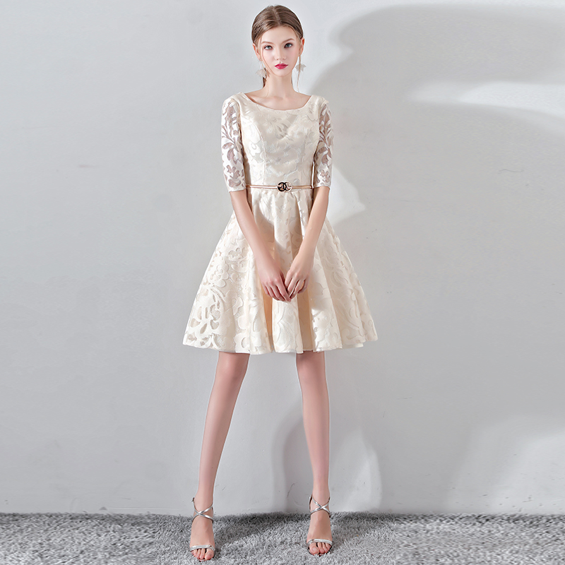 New Champagne Half Sleevelss   Cocktail     Dress   Elegant Embroidery Mini Length Formal   Dress   Party Gown LF188