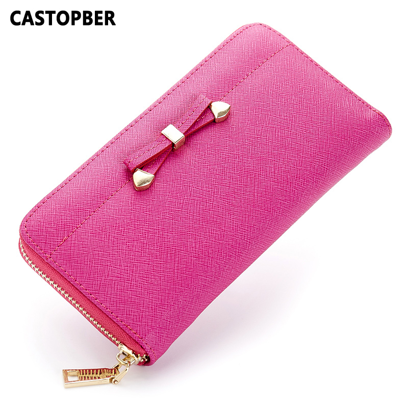 Designer Fashion Women Bow Wallets Split Cowhide Leather Korean Style Wallet Zipper Female Coin Purse Famous Brand High Quality korean style famous brand designer women short wallet faux suede leather coin bag card holder lady day clutches purses&wallets