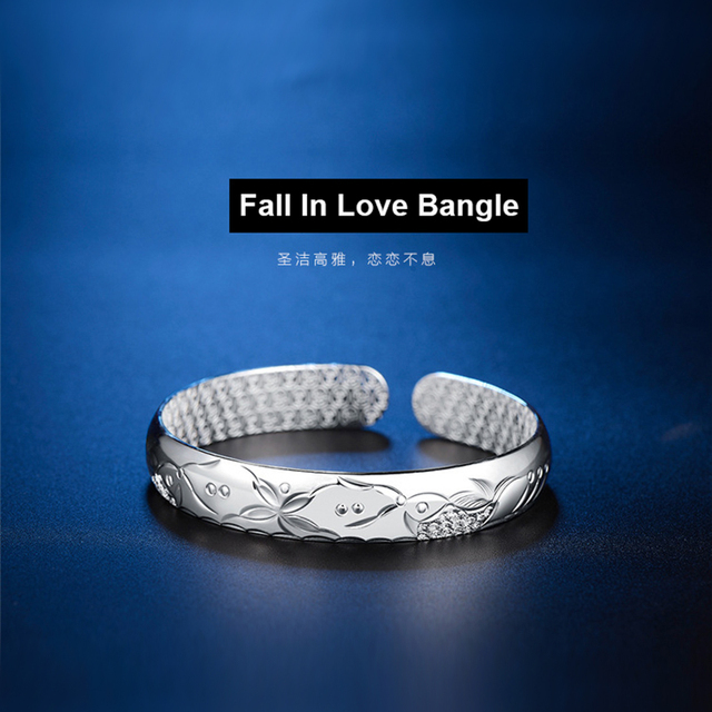 999 Fine Silver Jewelry Pure Silver Fall In Love Bangle Bbracelet Fashion Jewelry 10MM Silvery Bangle