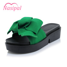 Nasipal Women Shoes Big Bowtie Woman Beach Flip Flops Summer Sandals Slip-Resistant Slippers Platform Heel Big Size 30-44 G907