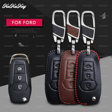 KUKAKEY Leather Car Key Case Cover For Ford Fusion Mondeo EVEREST Ecosport Ranger Escape Shell Protection Styling