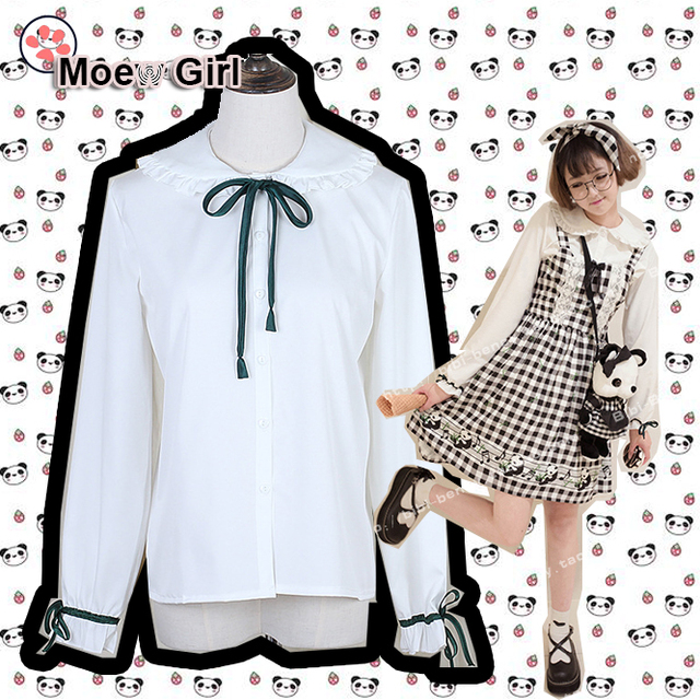 Completely new Panda Series Blouse Lolita Girls Long Sleeve Green Ribbon Tie  IO29