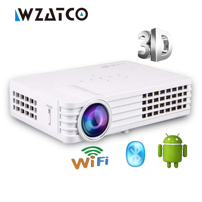 WZATCO 900W Android Bluetooth WiFi AirPlay Miracast 1080P Portable LED DLP Active 3D Projector HD Home Theater Proyector Beame rigal rd606 mini led dlp projector hd portable wifi multi screen pocket pico projector miracast airplay battery active 3d beamer
