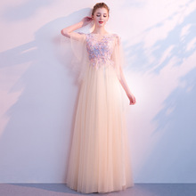 A-line Evening Dress Embroidery Flowers Chamgagne Formal Prom O-neck Half Sleeve Bandage Floor Length Long Party Gown E336