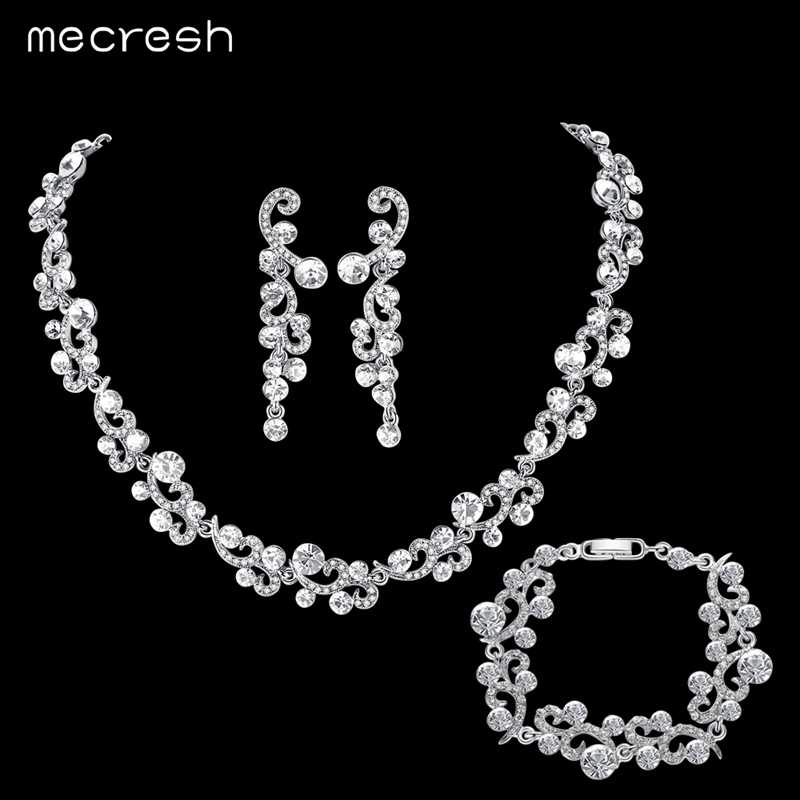 Mecresh Crystal Women Bridal Jewelry Sets Rhinestone Wedding Necklace Sets African Beads Jewelry Set Christmas Jewelry TL547+SL