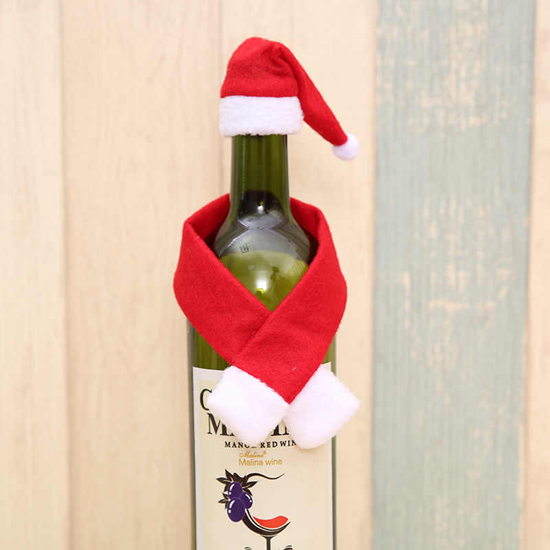 2 pz/set Sciarpa Cappello Di Natale Creativo Decorazione Della Casa Per La Bottiglia di Vino Nuovo Anno Vigilia di Natale Festa A Casa Tavolo Da Pranzo Decori
