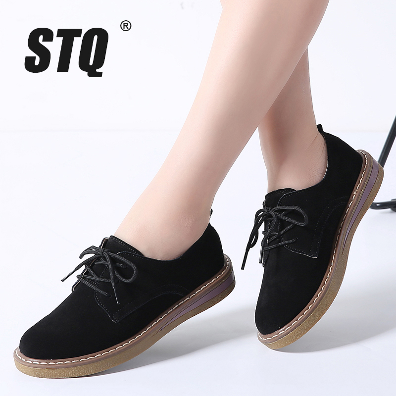 STQ 2019 Autumn Women Flats Shoes Women Sneakers Leather Suede Lace Up Boat Shoes Round Toe Flats Moccasins Oxford For Women 989