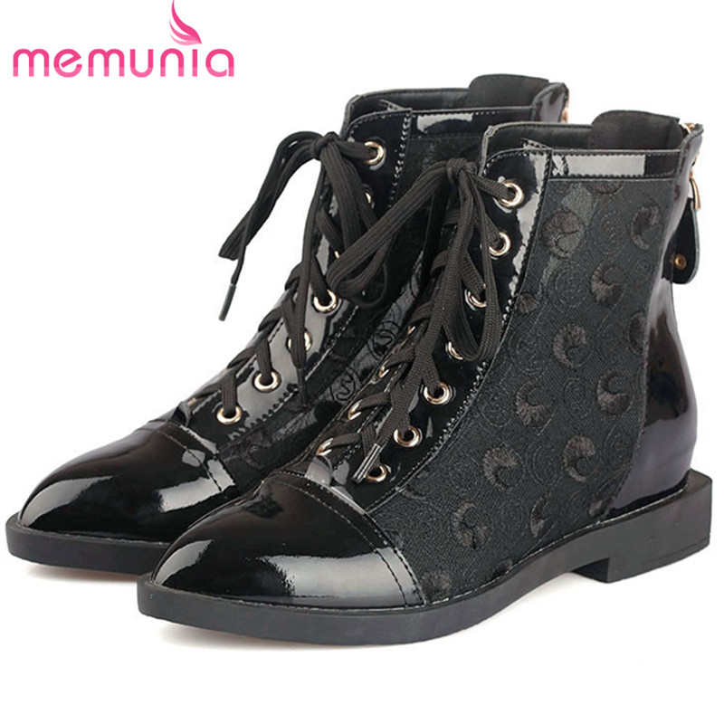 MEMUNIA 2018 Fashion shoes woman genuine leather boots spring autumn height increasing boots female zip solid memunia spring autumn hot sale genuine