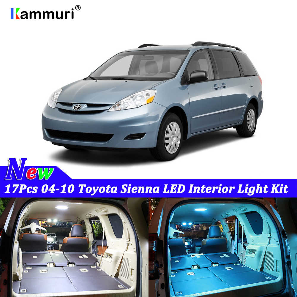 17Pcs White Blue LED Lamp Car Accessories Bulbs Interior Package Kit For 2004 2005 2006 2007 2008 2009 2010 Toyota Sienna Light