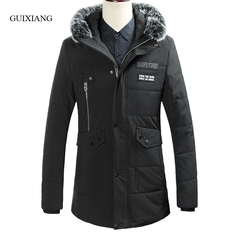 New arrival style men boutique cotton-padded jacket business casual solid hair collar hooded men's cotton-padded coat size M-3XL new arrival style men boutique parkas fashion solid detachable large hair collar men s loose thick jacket coat large size l 7xl