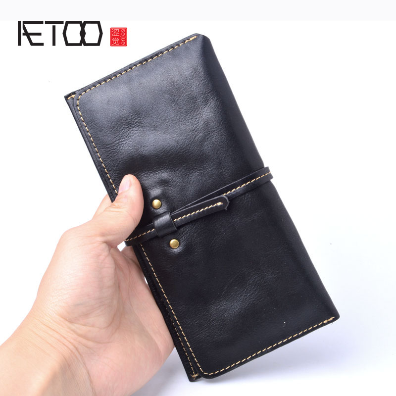 AETOO Women's Handmade Wallet Real Cowhide Leather Wallet Female Long Section Thin Section Leather Soft Wallet