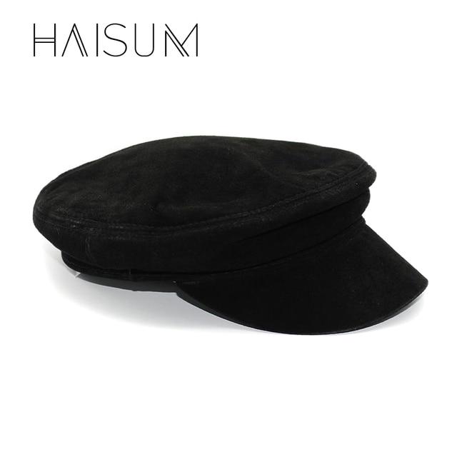a770b320619af 2018 adultos Gorras nueva sombreros militares Haisum estilo americano de  lana azul marino de estudiante sombrero
