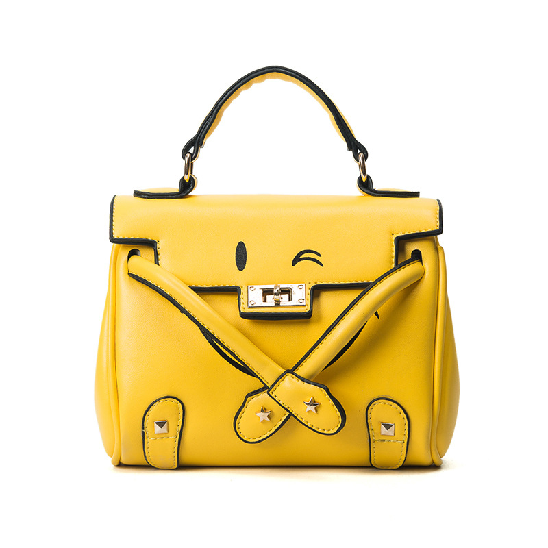 ФОТО Women Creative Handbag Japan Harajuku Smiley Face Fashion Stylish Shoulder Bag Emoticon Crossbody Messenger Bags Brand Designer