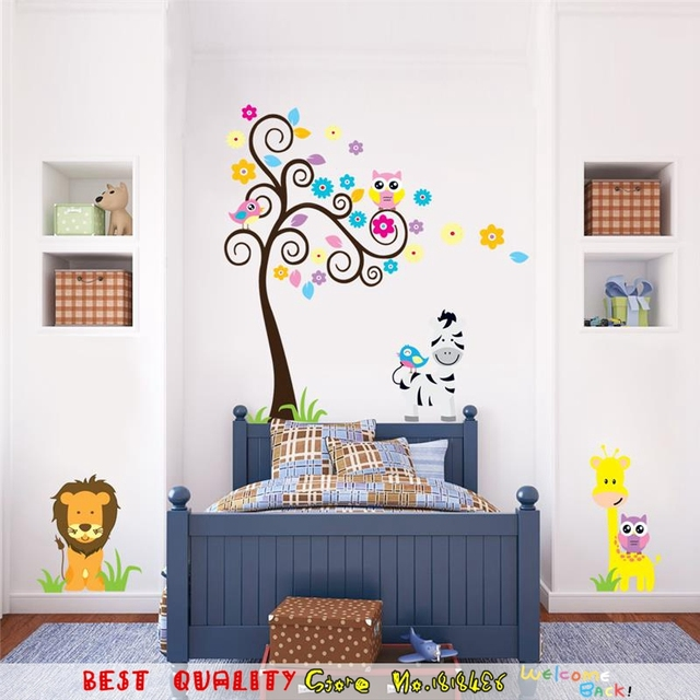 Cute Baby Lion Giraffe Zebra Animal Zoo Wall Stickers For Kids Room