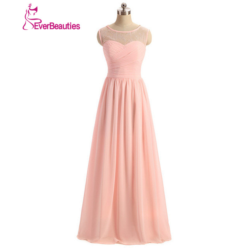 Cheap   Bridesmaid     Dresses   2019 Long Under $50 New Arriva Custom Size A Line Pink Pleated Chiffon