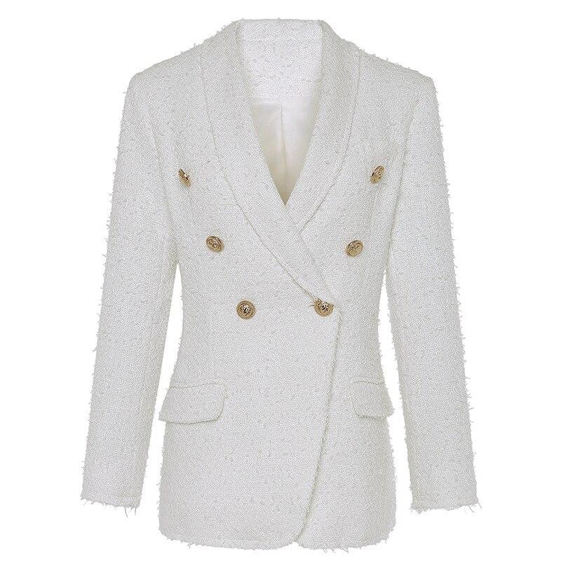 Blazer woman spring Autumn 2019 New  white Tassel Double Breasted long blazer women Shawl Collar Office Lady blazer feminina