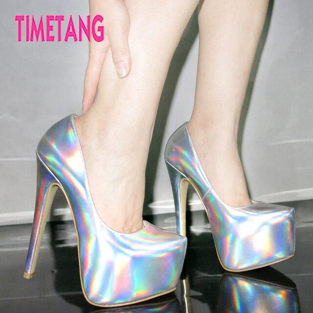 5852ba6cddbb Free Shipping Fashion Laser Wild Sexy Shallow Mouth Women Shoes Platform DJ  Dancing Super High 16cm Heels Women Pumps