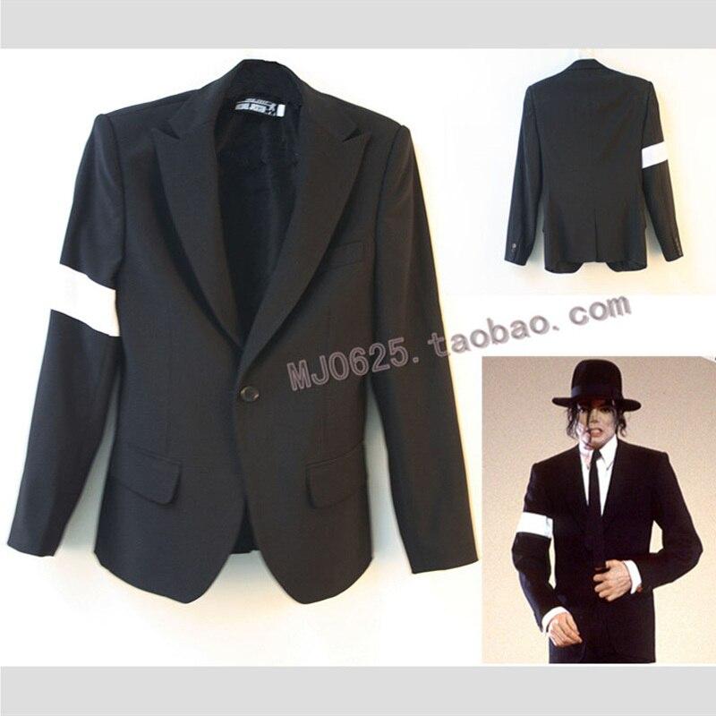MJ Michael Jackson Dangerous BAD Tour Black Suit Armband Punk Blazers Men's Fashion Suit  Slimly