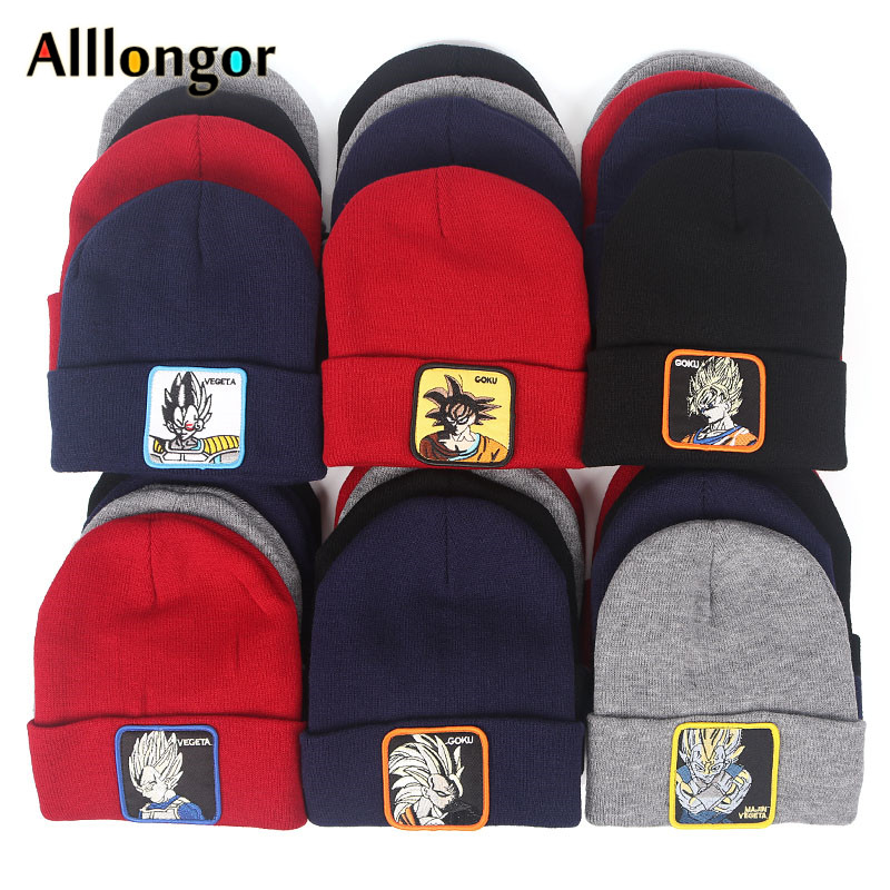 2019 Cartoon goku Dragon Ball Winter Warm Knitted Beanie Hat Men Unisex gorros mujer Beanies Women Black touca de inverno(China)