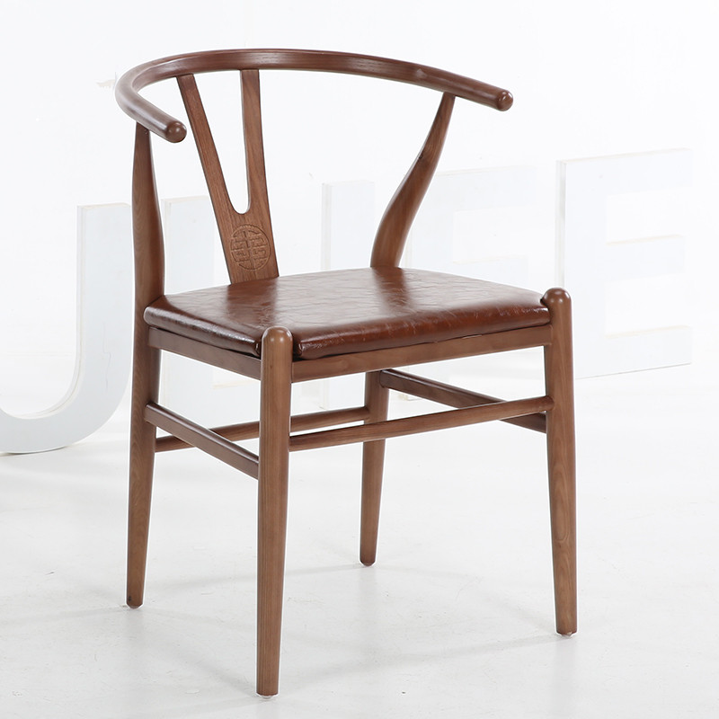 Wishbone Dining Chair Y Chair Style PU Seat Cushion Solid Ash Wood Frame Dark Brown Finish Dining Room Furniture Modern Chair 240337 ergonomic chair quality pu wheel household office chair computer chair 3d thick cushion high breathable mesh