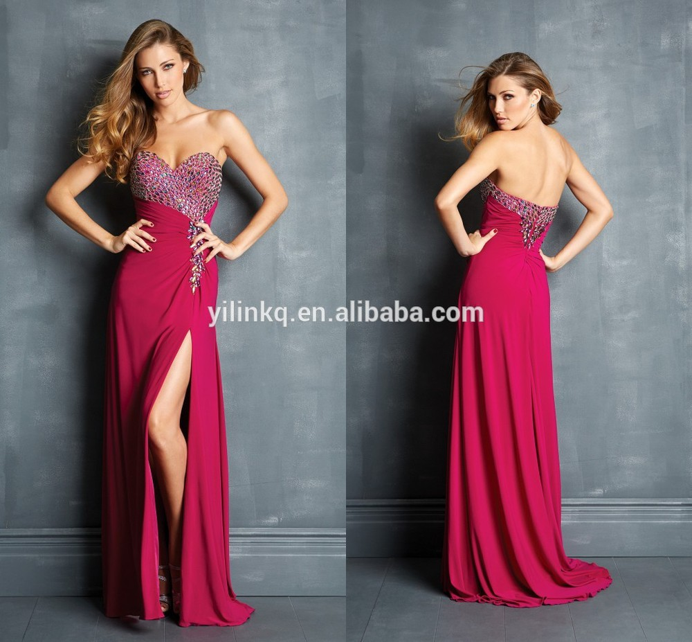 Fashion Long Prom Dresses Cheap 2014 Dark Red Side Slit Sexy See ...