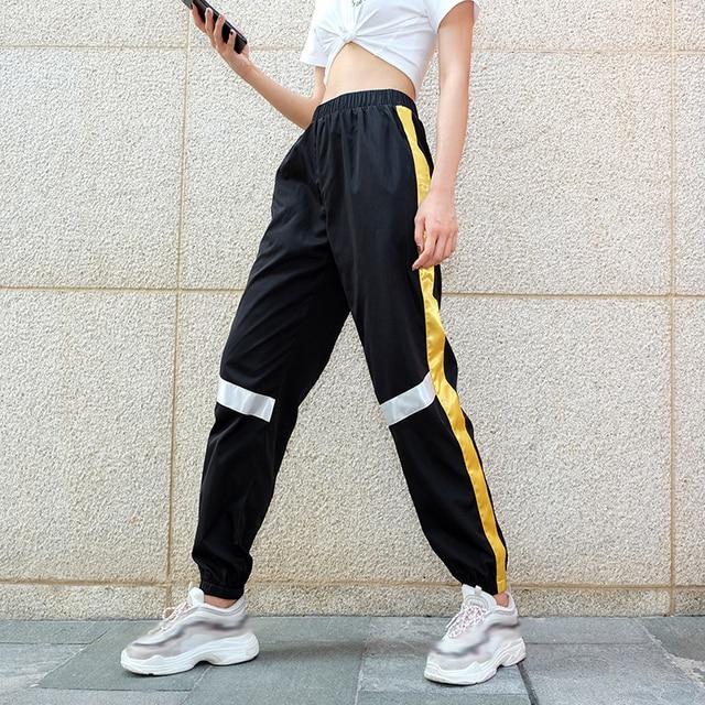 2018 side stripe pantalon large femme black street style harajuku pencil pants streetwear high waist joggers
