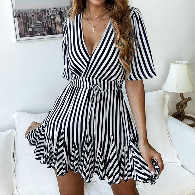 BEFORW 2019 Summer Short Sleeve Beach Dress Women Clothes Sexy V Neck Party Mini Dresses Fashion Casual Striped Dress Vestidos