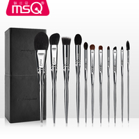 MSQ 11 Pcs Professional Animal Hair Makeup Brushes Set 100 Pure Natural Wool Face Makeup Brush