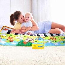 Alfombras de Piano para bebé, 135x58CM, alfombras musicales para bebé recién nacido, animales, juego de voz táctil, alfombra Musical, juguetes educativos