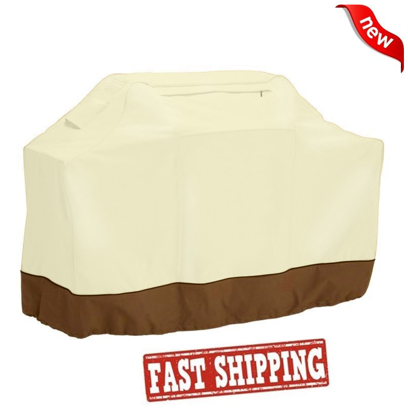 Durable BBQ Grill Cover 58 Gas Barbecue Heavy Duty Waterproof Outdoor Weber Beige Garden Patio 522