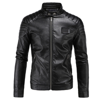 Motorcycle Jacket PU Leather Men Vintage Retro Moto Faux Punk Leather Jackets Motorcycle Coats Slim Fit Stand Collar Size M-5XL