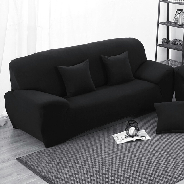 Black Elastic Stretch Sofa Cover L Shaped Slipcover Slip Resistant Chair  Couch Sofa Cover Set
