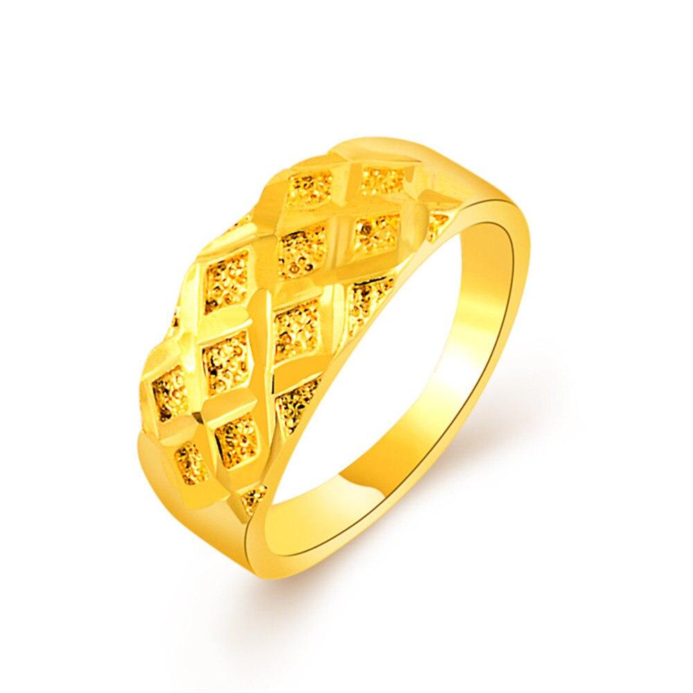 2017 Лидер продаж классические золотые кольца для Для женщин 24 К для Для женщин для вечеринок и свиданий Античная обещание Кольца Bijoux Femme Анел...