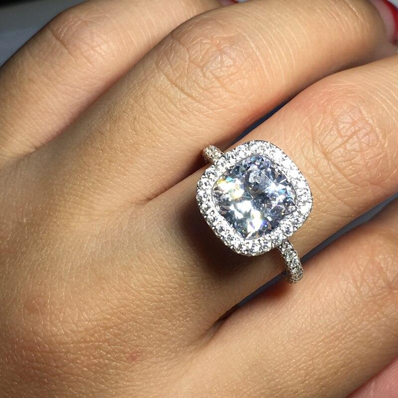 Ainoushi Luxury 3 Carat Cushion Cut Halo Ring Finger Sona 925