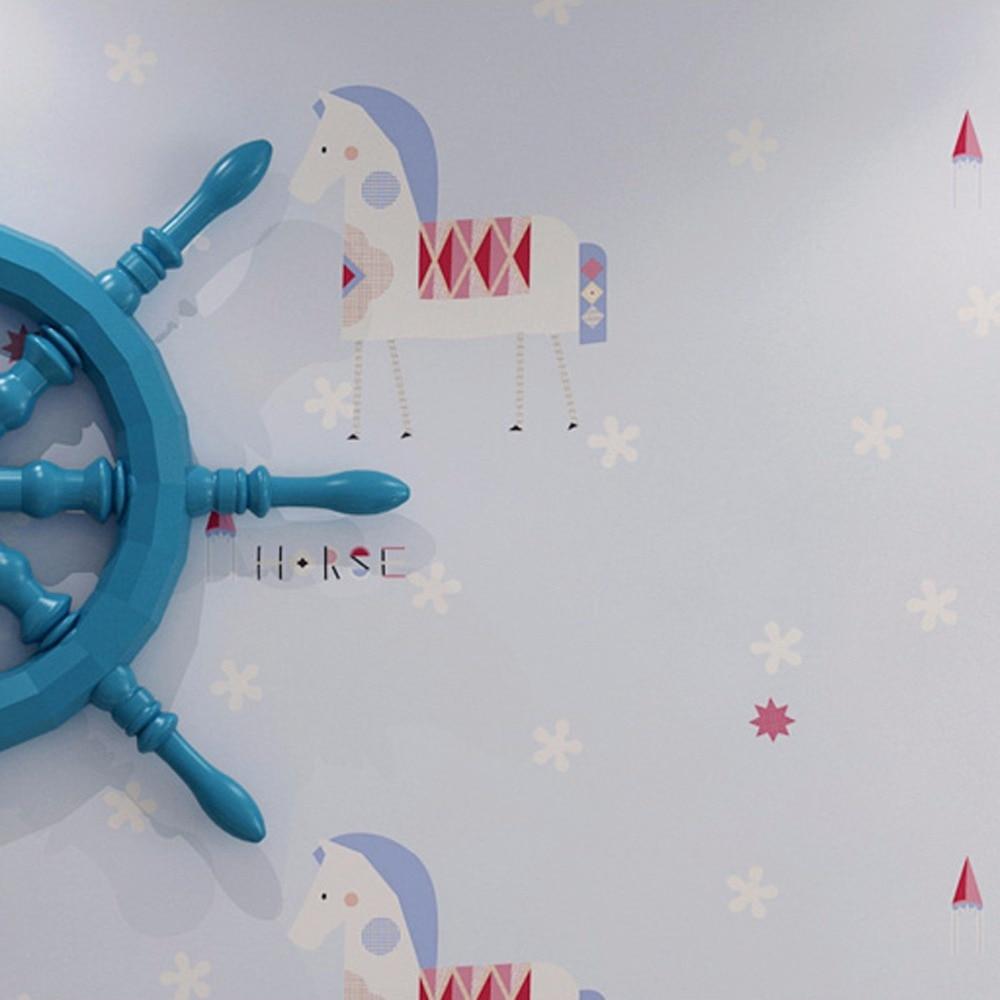 ФОТО beibehang Environmental nonwovens children's room wallpaper cartoon pony cute warm bedroom boy girl Trojan wallpaper