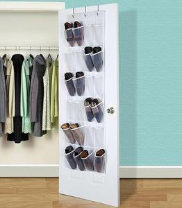 Вешалка для обуви через дверь, подвесной органайзер для обуви с 24 прозрачными карманами и 3 металлическими крючками, сумка для хранения заку...