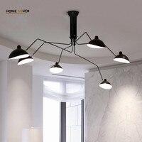 Гостиная потолочный светильник для домашнего освещения черный 3/6 огни luminaria led Спальня Кухня винтажная Потолочная люстра светодиодные плаф