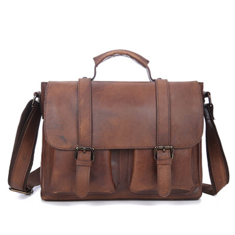 YISHEN Vintage Genuine Cowhide Leather Men Messenger Bags Business Fashion Men Briefcase Male Handbags Shoulder Bags LS8827 padieoe men s genuine leather briefcase famous brand business cowhide leather men messenger bag casual handbags shoulder bags