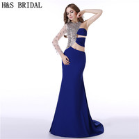 H&S BRIDAL One Shoulder Long Sleeve dress evening party Crystals Beaded Chiffon long evening dresses with sleeves vestido longo