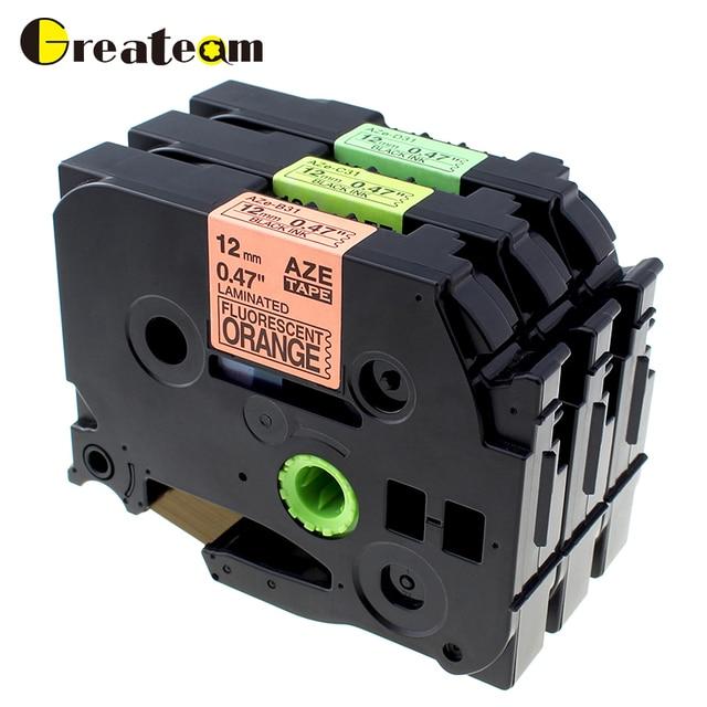 8763de5c787 Greateam 3pcs TZe -B31 TZe- C31 TZe -D31 Compatible Brother P-Touch  Fluorescent 12mm Laminated Tze Label Tape for Label Printer