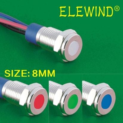 ELEWIND  8mm Metal IP67 Sealed RGB Led Indicator/pilot Lamp(PM8T-D/Y/42RGB/12V/Stainless Steel)