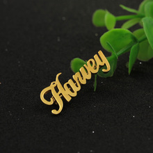Custom Name Golden Brooch Personalized Nameplate Brooch Engraved  For Women Jewelry  Christmas Gift