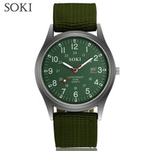 SOKI  Fashion Sport Outdoor Men's Date Quartz Wrist Watch Military Sports Nylon Strap Luminous Engraved Dial Army Style Watch