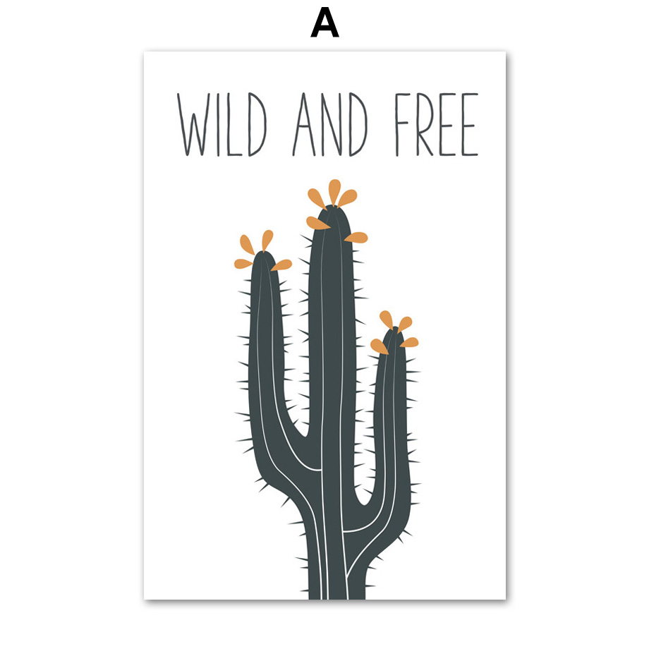 US $3 33 43% OFF|Cartoon Cactus Quotes Nordic Poster Wall Art Canvas  Painting Posters And Prints Wall Pictures For Kids Baby Girl Boy Room  Decor-in