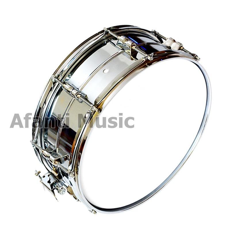 Afanti musique couleur argent 14 pouces caisse claire en acier inoxydable (ASD-100)