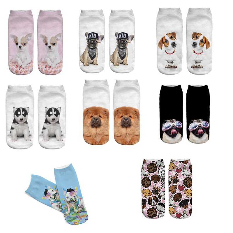 Women Socks 2018 Cute Dog 3D Print Socks Funny Dog Aniaml Theme Low Cut Ankle Socks -2583