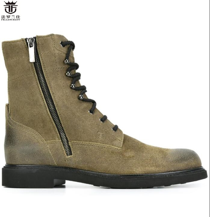 FR.LANCELOT New fashion mens suede Leather Ankle lace up Boots flat heel Chelsea Boots Men's army green Autumn Boots