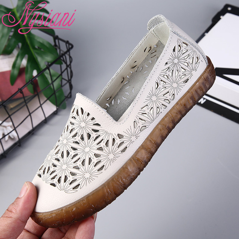 2019 Leather Women Flat Shoes Casual Loafers Split Leather Round Toe Hollow out Summer Female Flat Shoes For Women Nysiani in Women 39 s Flats from Shoes