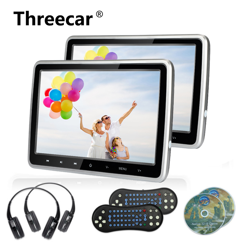 2x 10.1 Inch 1024*600 Car Headrest Monitor DVD Player USB/SD/HDMI/FM/Game TFT LCD Screen Touch Button Support Wireless Headphone 9 inch car headrest mount dvd player digital multimedia player hdmi 800 x 480 lcd screen audio video usb speaker remote control